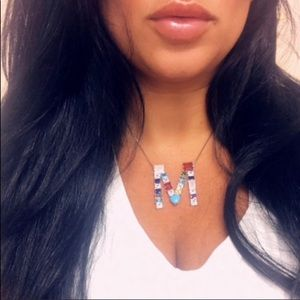 Large Colorful Crystal & Stone Initial Necklaces